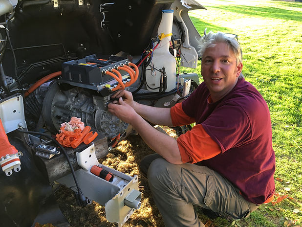 Edd China working on the elctric drive train for the world's first all electric ice cream van