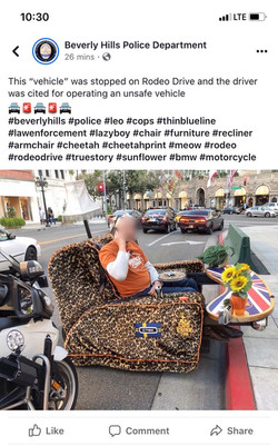 LAPD interested in sofa car on Rodeo Drive
