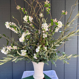 Apple Blossoms with Olive and Curly Willow