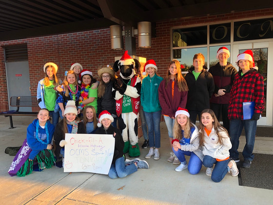 Caroling with the Chick-Fil-A Cow