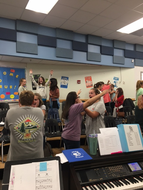 Students learn to show various emotions at Musical Theatre Auditions!