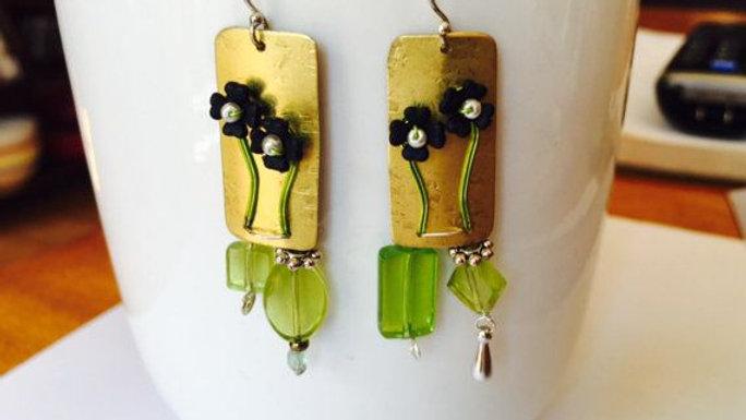 Dark Blue/Green Floral Earrings