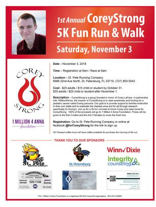 1st Annual CoreyStrong 5K Fun Run & Walk November 3, 2018