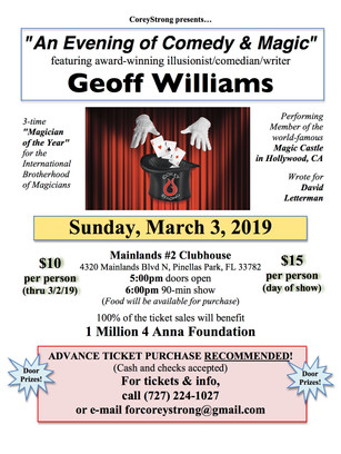 Evening of Comedy & Magic with Geoff Williams March 3, 2019