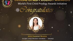 "Emanne Beasha receives ""Global Child Prodigy 2020"" Award"