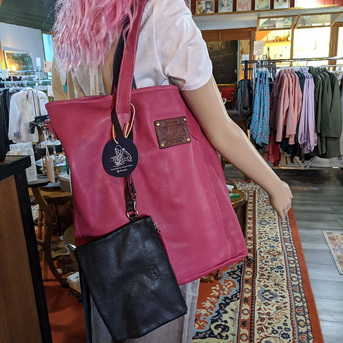 Marie Leather Tote in pink. Risa Bags