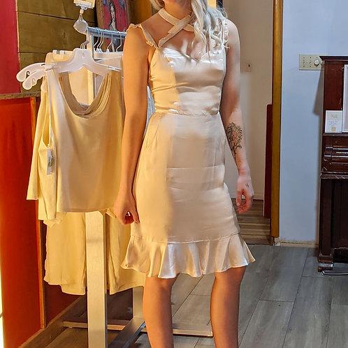 Afterglow ruffled halter mini Dress