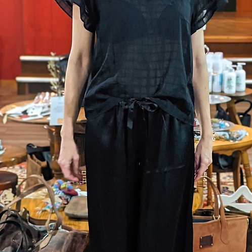 Black oversized silky trousers