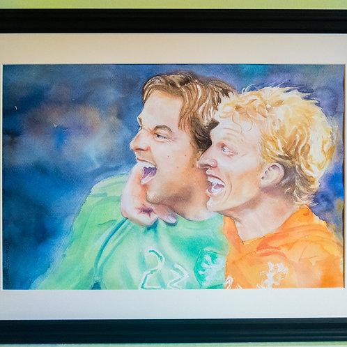 Tim Krul and Dirk Kuyt Framed Painting