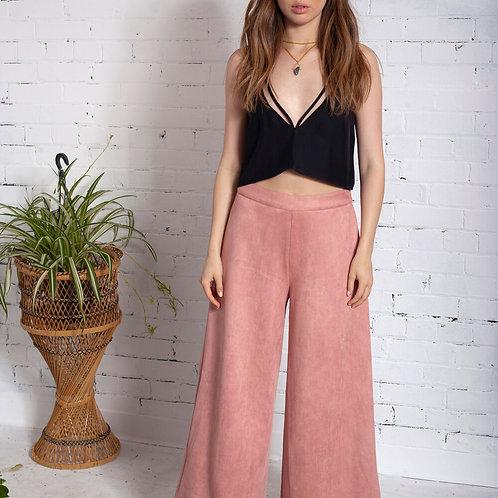 Vegan suede wide leg trousers