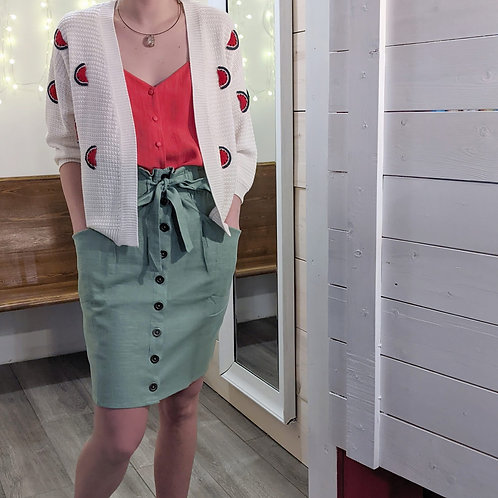 Cardigan with watermelons.