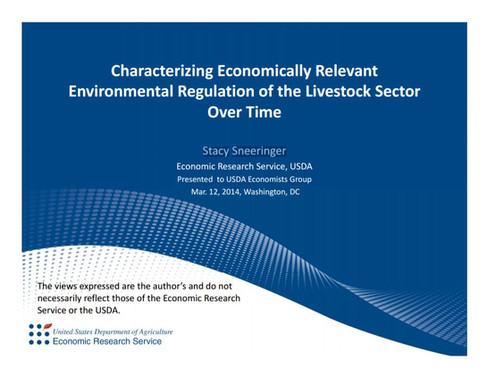 Environmental Regulation of the Livestock Sector