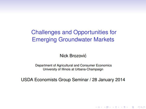 Challenges and Opportunities for Emerging Groundwater Markets