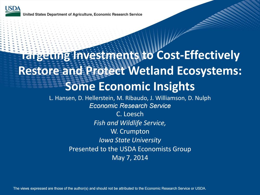 Title Slide: Targeting Investments to Cost-Effectively Restore Wetland Ecosystems