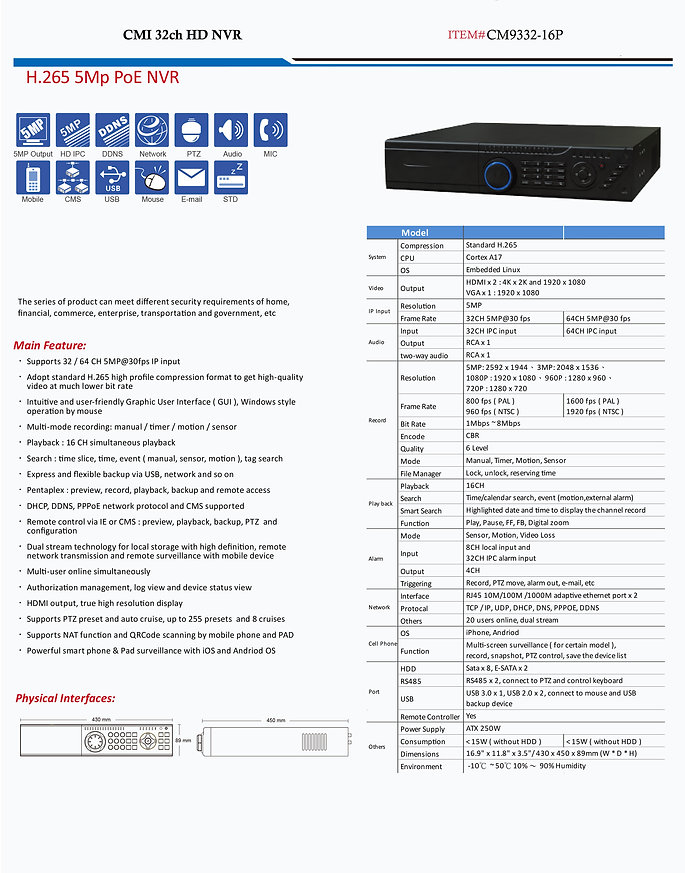 CMI 32ch HD NVR specs | United States | C.M Installations