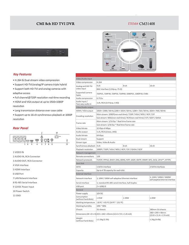 CMI 8ch HD TVI DVR specs | United States | C.M Installations