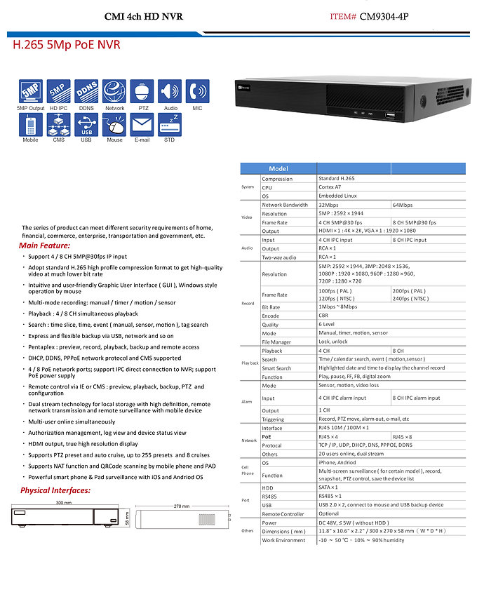 CMI 4ch HD NVR specs | United States | C.M Installations