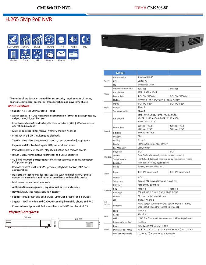CMI 8ch HD NVR specs | United States | C.M Installations