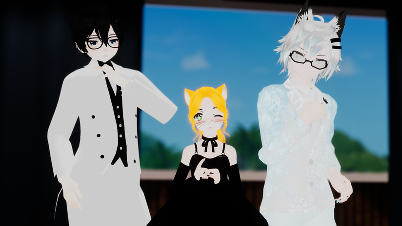 Chroa, Naku and Adi all suited up