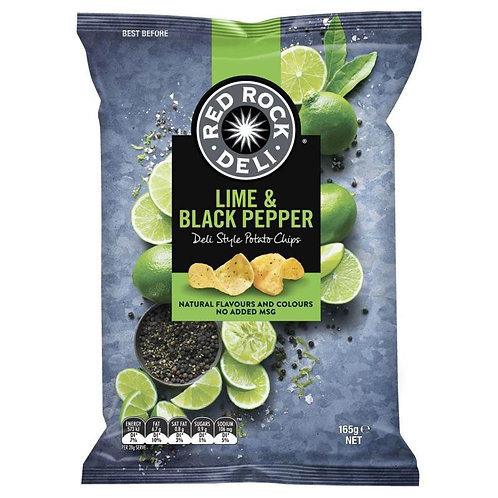 Red Rock Deli Style Potato Chips - Lime & Black Pepper 165g