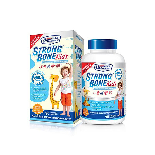 US Clinicals Strong Kids Bone Liquid Calcium Tablets-Milk