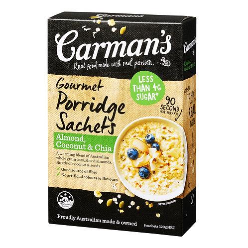 Carman's Gourmet Porridge Sachets - Almond with Coconut & Chia 320g