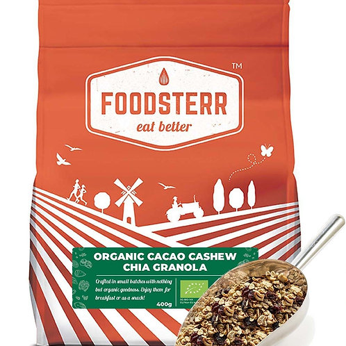 Foodsterr Organic Cacao Cashew Chia Granola 400g