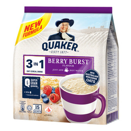 Quaker 3 in 1 Instant Oat Cereal Drink - Berry Burst 15 x 30g