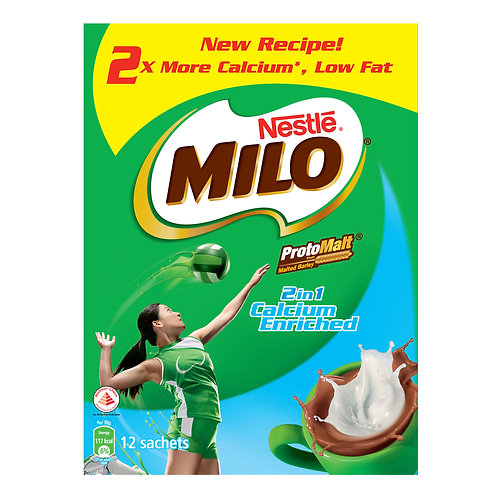 Milo 2 in 1 Instant Chocolate Malt Drink - Calcium Enriched 12 x 30g