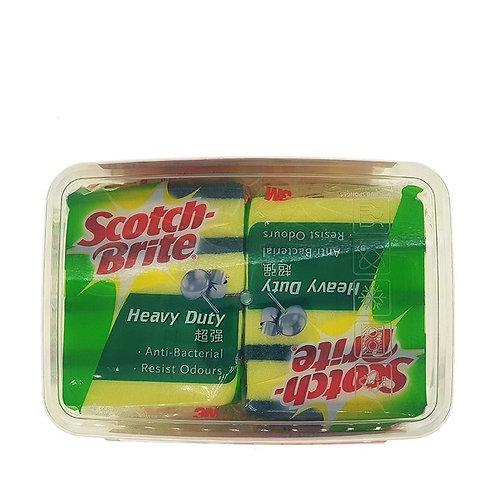 3M Scotch-Brite Scrub Sponges - Heavy Duty + Container 2 x 4 per pack