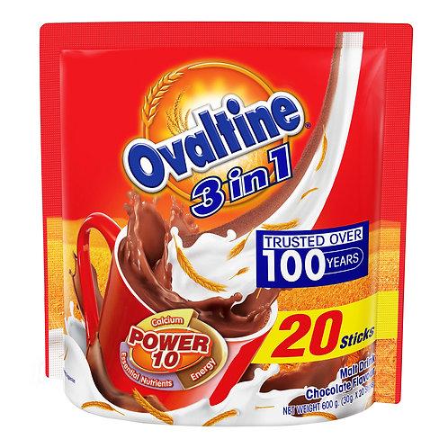 Ovaltine 3 in 1 Instant Malt Drink Sachets - Chocolate 20 x 30g