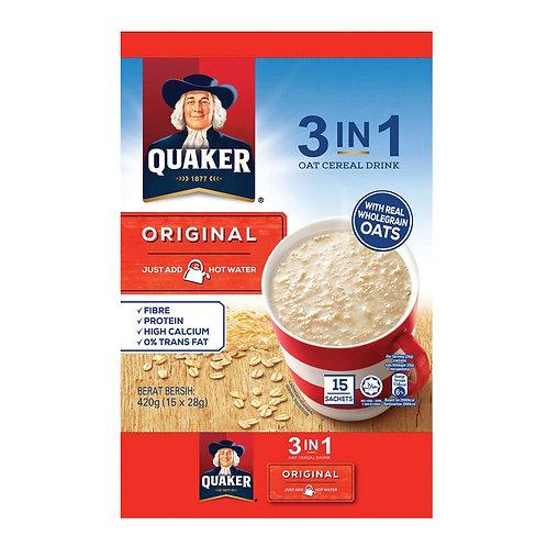 Quaker 3 in 1 Instant Oat Cereal Drink - Original 15 x 28g
