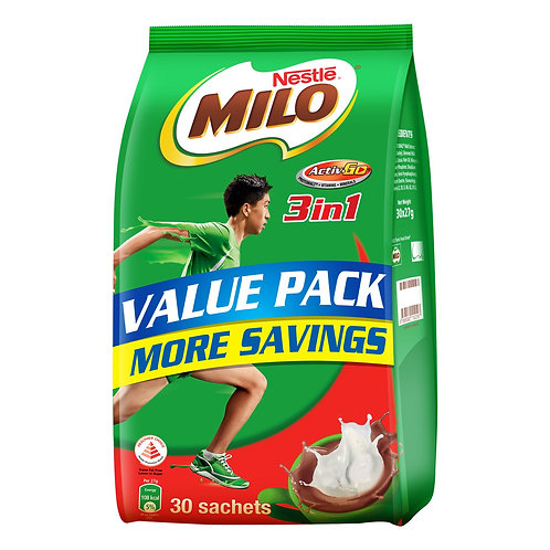 Milo 3 in 1 Instant Chocolate Malt Drink - Regular 30 per pack