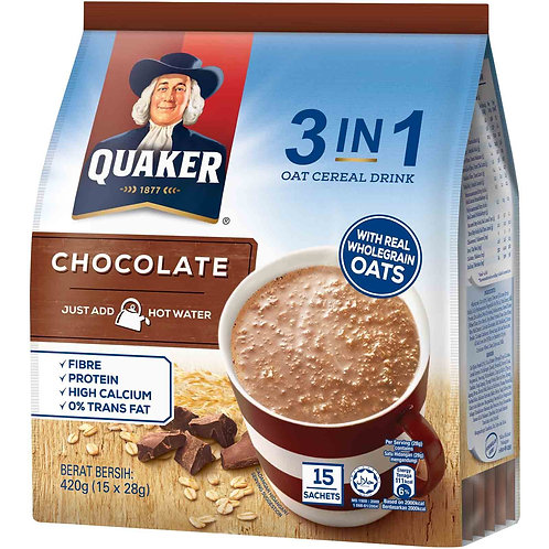 Quaker 3 in 1 Instant Oat Cereal Drink - Chocolate