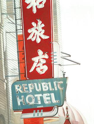 Republic Hotel - 18x24 Canvas Print