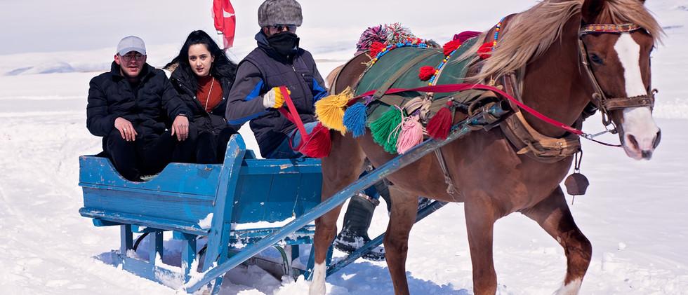 Horse Drawn Sleigh Ride Over Lake Cildir