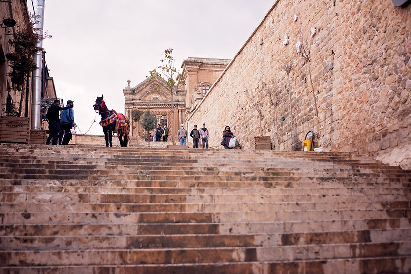 Limestone Stairs up to Old City Mardin
