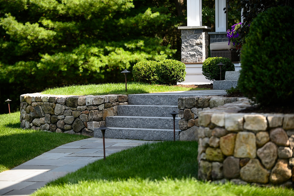 Indresano Corporation landscaping design, construction, maintenance – Medfield Stately Exterior front yard curb appeal