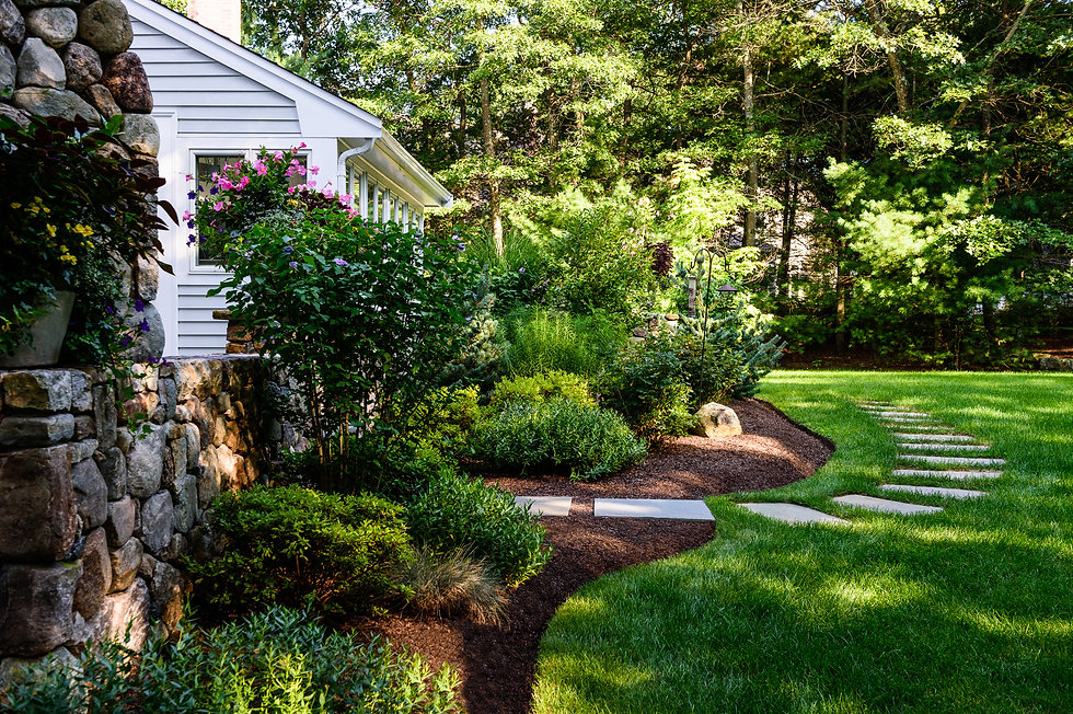 Indresano Corporation landscaping design, construction, maintenance – Medfield Stately Exterior backyard oasis