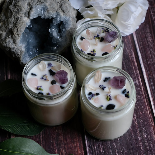 Beach Garden Botanical + Crystal Soy Candles in Glass Jars