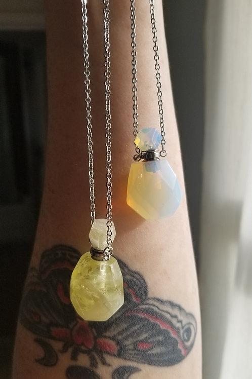 Crystal Bottle Pendants - Citrine + Opalite