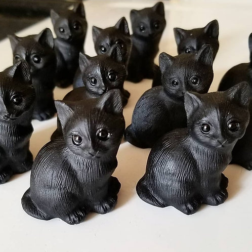 Black Obsidian Carved Cat Totem - Courage, Inner Vision, Memory Enhancement