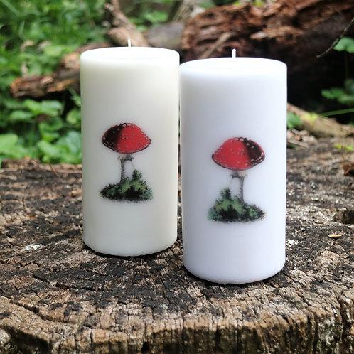 Mushroom Unscented Vintage Graphic Decor Pillar Candles - Decoration Onl