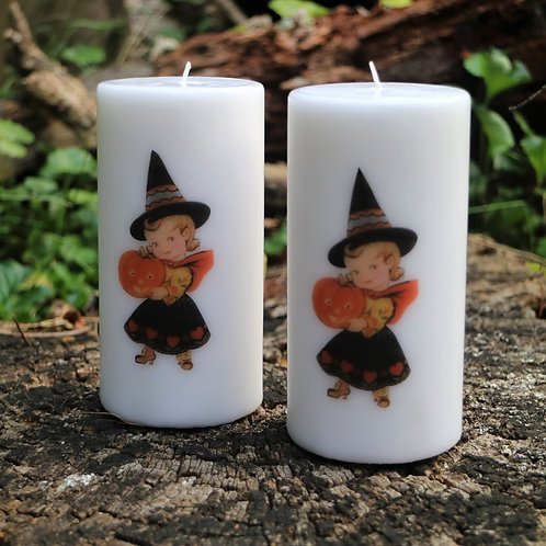 Witch Baby Unscented Vintage Graphic Decor Pillar Candles - Decoration Only
