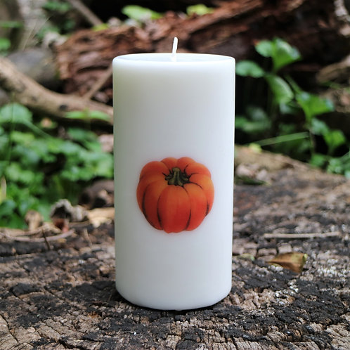 Pumpkin Bumpkin Unscented Vintage Graphic Decor Pillar Candles - Decoration Onl