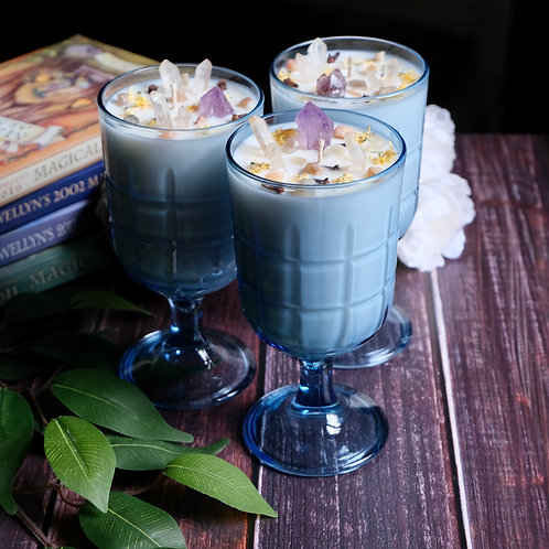 Spiced Honey + Tonka Candles in Blue Glass Goblets