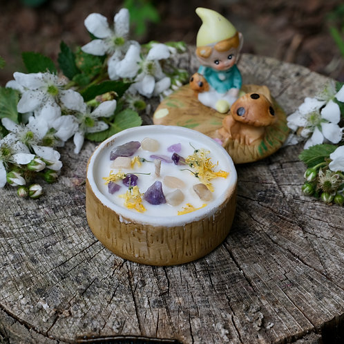Candles in Vintage Elf + Mushroom Ceramic Trinket Box