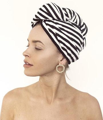 LOUVELLE - Riva Hair Towel Wrap in Monochrome Stripe