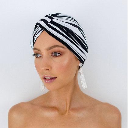LOUVELLE - Amelie Shower Cap in Monochrome Stripe