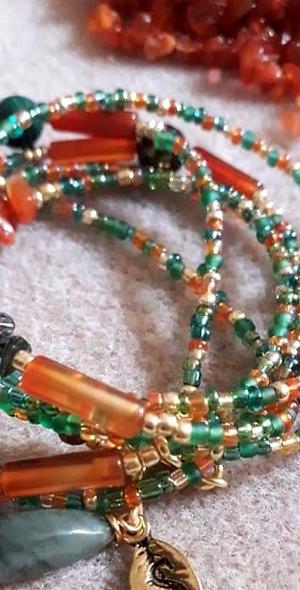 Emerald and Carnelian Crystal Waistbead